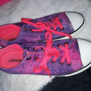 Pink n purple tie die converse